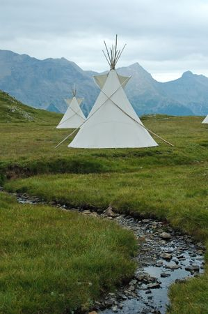 tipi: Indian tents in Ecrins National Park (French Alp)