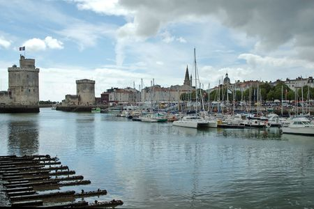 middle ages boat: La Rochelle, exit of the harbour with La Cha
