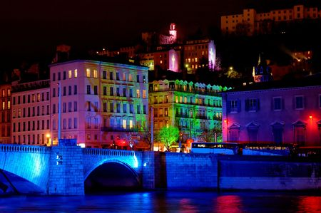 fete: Bonaparte bridge and the old town (fourviere hill)  during light fest Stock Photo