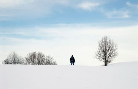 Alone in snow photo