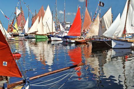triad: Old Rigging boats in Paimpol Harbour (France Stock Photo