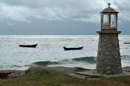normandy: A fisherman memorial near Gatteville lighthouse in Normandy