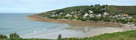 Youre overlooking a picturesque bay, lAnse du Brick with its sheltered sandy beach (Normandy - France) photo