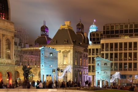 lyon: The comedie square during light festival in Lyon with fisherman�s huts  Stock Photo