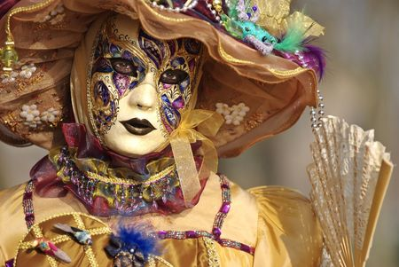 were: Typical Venetian carnival papier-mache masks. They were used both by men and women on different occasions Stock Photo
