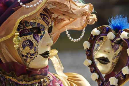 occasions: Typical Venetian carnival papier-mache masks. They were used both by men and women on different occasions Stock Photo