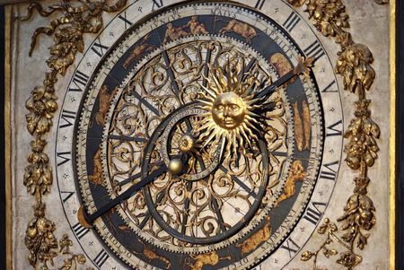 Cathedrale St.Jean in Lyon has a 14 th-century astronomical clock that shows religious feast days till the year 2019. photo