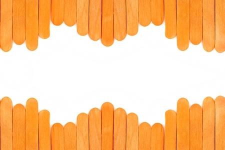 orange wooden frame isolate on white background photo