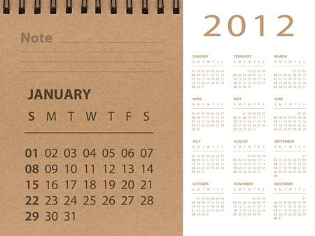 Januari van 2012 kalender