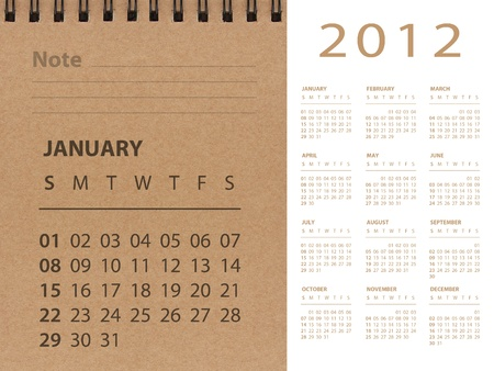 schedulers: January of 2012 calendar Stock Photo