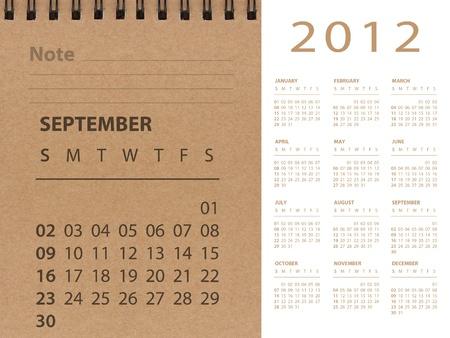 September of 2012 calendar Stock Photo - 10815248