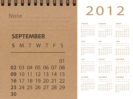 September of 2012 calendar Stock Photo - 10815248
