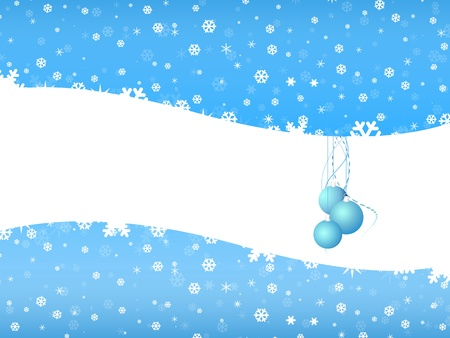 Cartoon  Christmas bell on snow background with white space photo