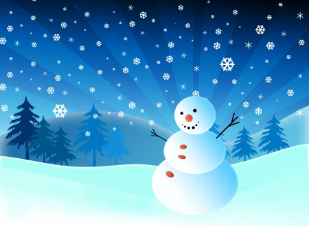 Cartoon snowman on snow blue background photo