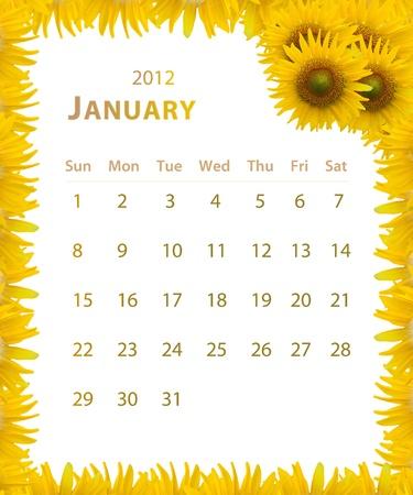 2012 jaar kalender, januari met zonnebloem frame ontwerp Stockfoto