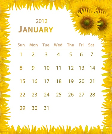2012 year calendar ,January with Sunflower frame design