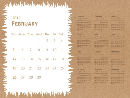 february of 2012 calendar with recycle paper background photo