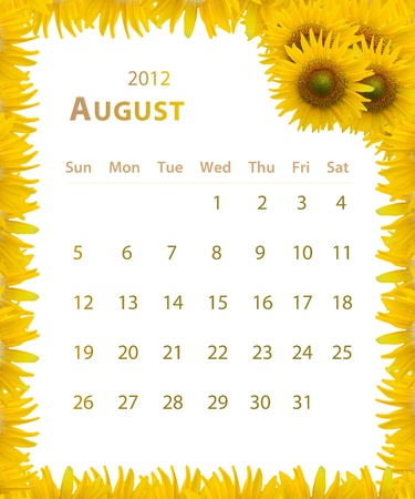 2012 year calendar ,August with Sunflower frame design Stock Photo - 11481145