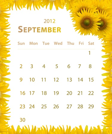2012 year calendar ,September with Sunflower frame design photo