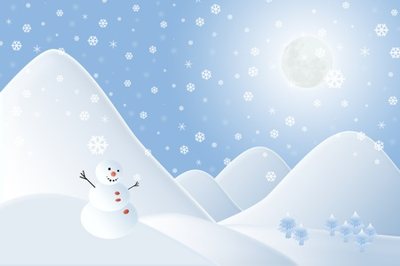 Christmas background,Snow man with mountain Stock Photo - 11481067