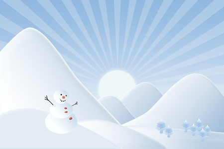Christmas background,Snow man with mountain  in sunset time photo