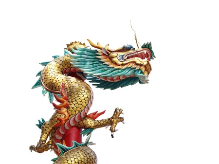 Chinese style dragon statue isolate on white background (from temple in Thailand) photo