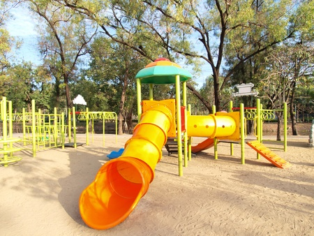 Colorful playground in a city park.  photo
