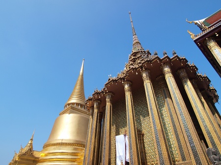 Golden pagoda in Grand Palace ,Bangkok Thailand            photo