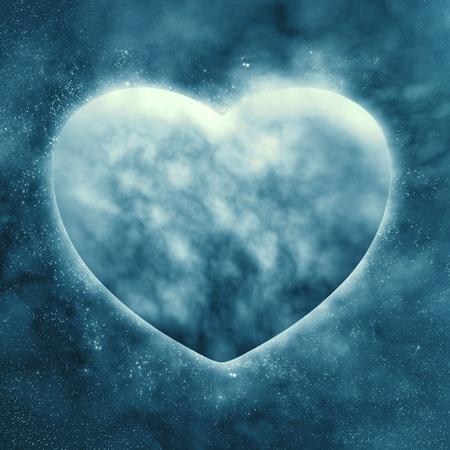 Concept, Planet van het hart in een prachtige ruimte