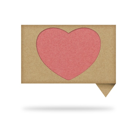 Heart tag recycled paper on white background Stock Photo - 12113891