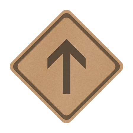 Recycle paper go straight direction traffic sign isolated on white background photo