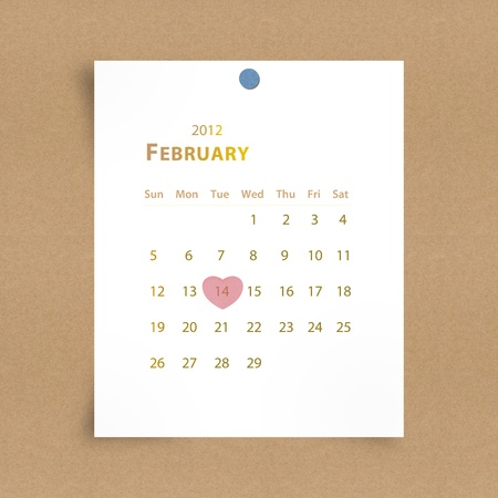 Pink heart on 14 february 2012 valentine day  ,Note paper photo