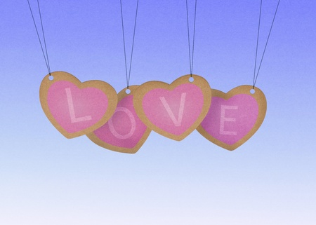 Recycle paper Valentine hanging labels.  photo