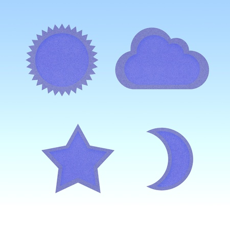 Icon star,sun,moon,cloud,recycled papercraft photo