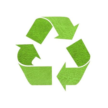 Recycle teken, lederen textuur op een witte achtergrond
