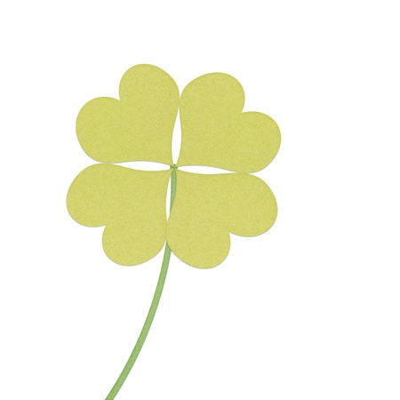 recycle paper clover with four leaves on white background Stock Photo - 12354191