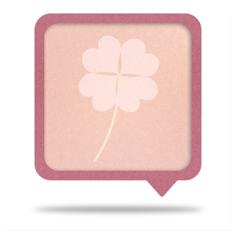 clover with four leaves on recycle paper talk tag Stock Photo - 12354141