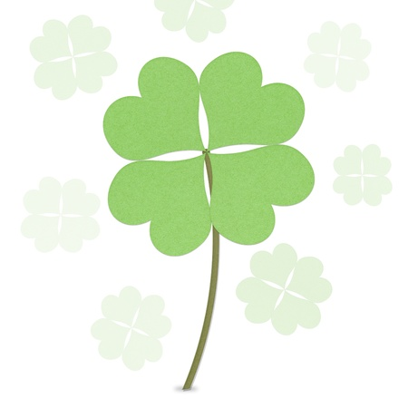 recycle paper clover with four leaves on white background Stock Photo - 12354139