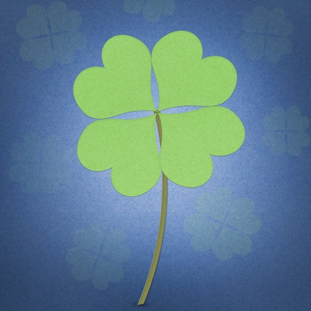 recycle paper clover with four leaves on white background Stock Photo - 12354147