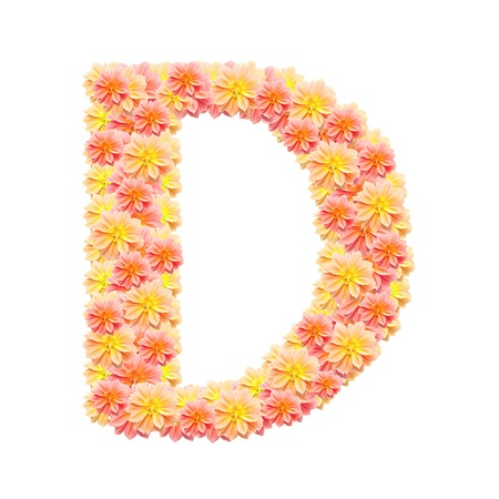 D,flower alphabet isolated on white photo
