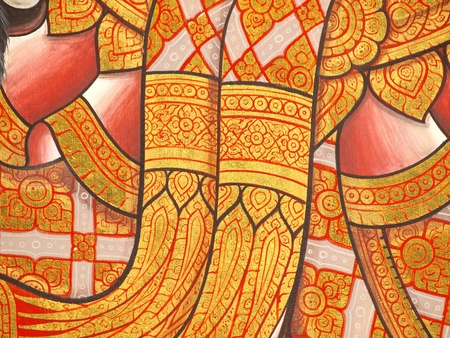 Wall art painting and texture in temple Thailand. painting about Ramayana epic story.