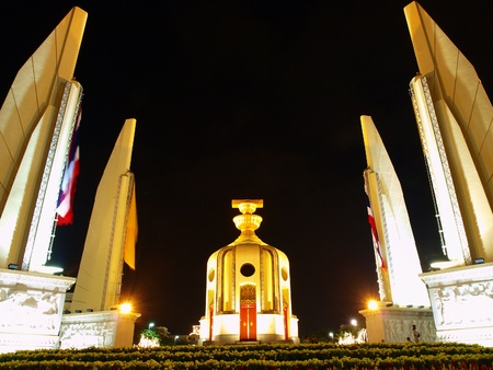 Democracy monument at night in Bangkok