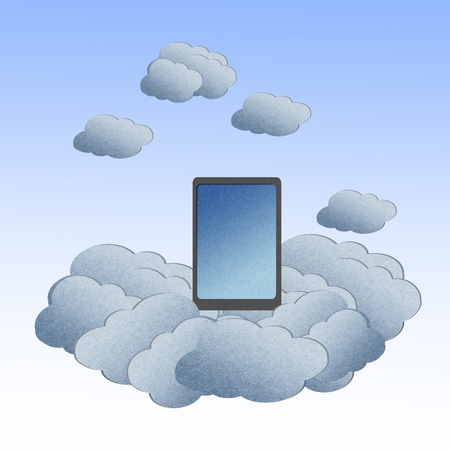 Recycle paper ,Cloud computing concept with Tablet in the clouds. Stock Photo - 12961219