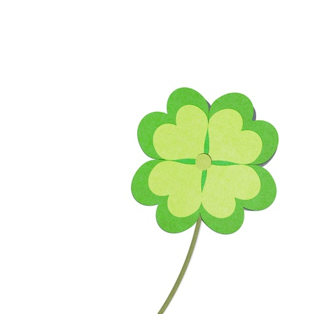 recycle paper clover with four leaves on white background Stock Photo - 12961215