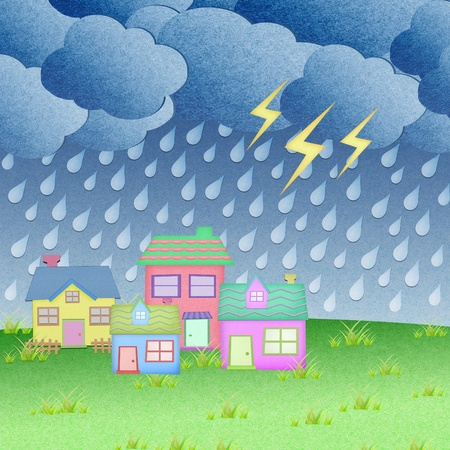 rain cartoon: house from recycle paper with grass field in rainy time