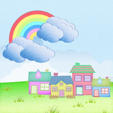 house from recycle paper with grass field rainbow background photo