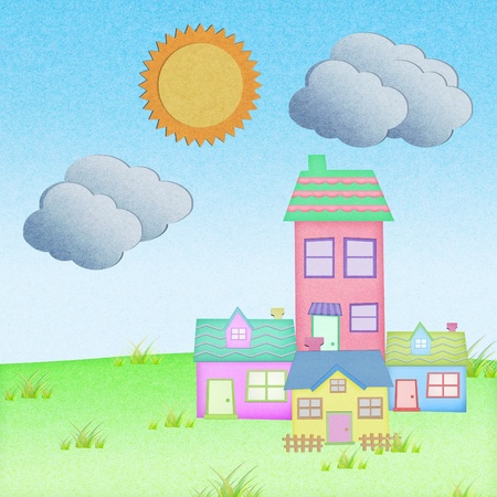 house from recycle paper with grass field with sun and  cloud Stock Photo - 12961289