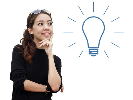 skeptic: idea concept with asian woman isolate on white background
