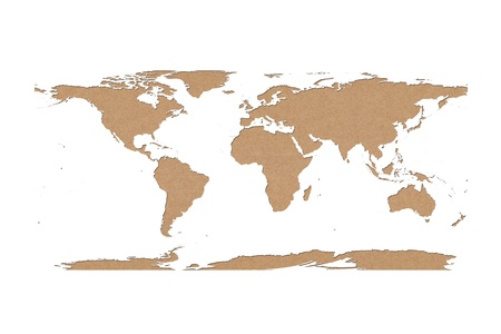 world map recycled paper on white background, Data source  NASA photo
