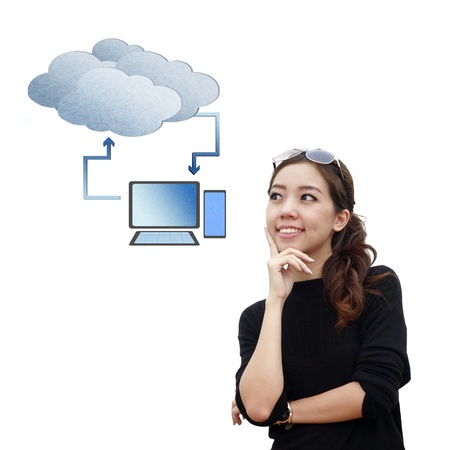 Smart asian woman think about cloud computing isolate on white background photo